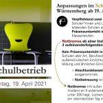 Schulbetrieb ab Montag, 19. April 2021 – kein Präsenzunterricht im Landkreis Rastatt